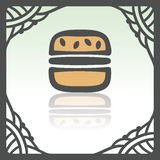 Vector outline hamburger fast food icon. Modern infographic logo and pictogram. Royalty Free Stock Image