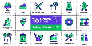 Vector outline icons collection of bakery, cooking. Modern outli. Vector pictogram suitable for print, website and presentation Stock Photo