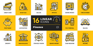 Vector outline icons collection of finance, banking. Modern outl. Vector template for your design Royalty Free Stock Images