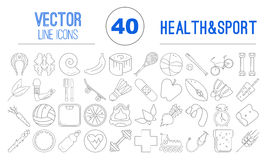 40 vector outline icons of healthy food and sport Stock Photo