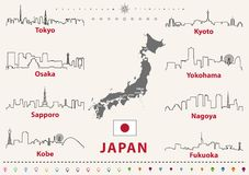 Vector outline icons of Japan cities skylines with japanese flag and map stock illustration