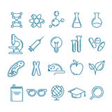 Vector outline icons set and design elements. Research, technologies and innovation symbols. Line logo collection. Concept for science, education, medical Stock Image