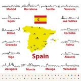Vector outline icons of Spain cities skylines with map and flag of Spain. Vector outlines icons of Spain cities skylines with map and flag of Spain Royalty Free Stock Photography