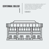 Vector outline illustration of building Facade. Royalty Free Stock Photography