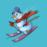 Vector outline illustration of cute snowman with red scarf skiing Royalty Free Stock Image