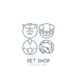 Vector outline illustration of dog head, cat muzzle, bird and snake. Royalty Free Stock Images