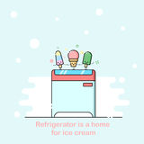 Vector outline illustration with supermarket freezer box Royalty Free Stock Images