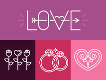 Vector outline love signs and logos Royalty Free Stock Photography