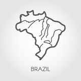 Vector outline map of Brazil. Outline frame icon. Cartography symbol of south country Royalty Free Stock Image