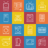 Vector outline minimal household appliances iconset.  Royalty Free Stock Image