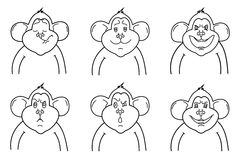 Vector outline of monkeys. Monkey shows six characters emotions Royalty Free Stock Images
