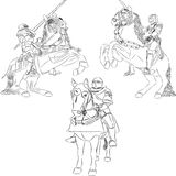Vector outline of mounted knights Stock Images