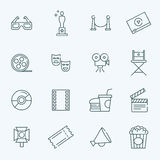 Vector outline movie icons set Royalty Free Stock Photos