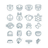 Vector outline pet shop, zoo or veterinary icons set. Stock Photography