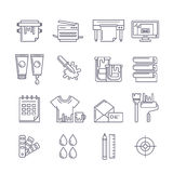 Vector outline printing icons set. Printer, plotter, paints and. Paper, stationery and corporate identity line illustration. Concept for copy center, printing Royalty Free Stock Images