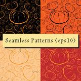 Vector outline pumpkins seamless patterns set. Pumpkin patch background. Orange color Royalty Free Stock Photos