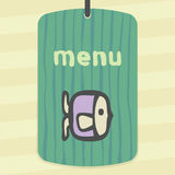 Vector outline raw fish icon. Modern infographic logo and pictogram. Vector outline raw fish food icon on label with hand drawn striped background. Elements for Royalty Free Stock Image