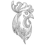 Vector outline rooster or cock head profile in black  on white background. Symbol of New Year 2017 in Chinese calendar. Vector outline rooster or cock head Royalty Free Stock Photography