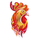 Vector outline rooster or cock head profile in gold and red  on white. Symbol of New Year 2017 in Chinese calendar. Royalty Free Stock Images