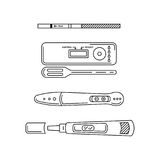 Vector outline silhouettes pregnancy test Royalty Free Stock Photos