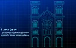 Vector outline sketch chapel on blueprint. stock illustration