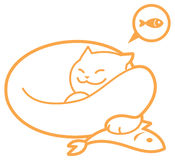 Vector outline sleeping cat, with fish Royalty Free Stock Image