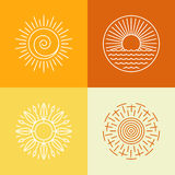 Vector outline sun icons and logo design elements. Set of abstract emblems Stock Images