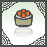 Vector outline sushi rice roll with caviar japan food icon. Modern logo. Stock Images