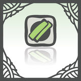 Vector outline sushi rice roll with green grass japan food icon. Modern. Vector outline sushi rice roll with green grass and wasabi japan food icon in hand Stock Photos