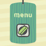 Vector outline sushi rice roll with green grass japan food icon. Modern. Vector outline sushi rice roll with green grass and wasabi japan food icon on label Stock Image