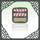 Vector outline sushi rice roll with raw fish meat salmon japan food icon. Stock Photos