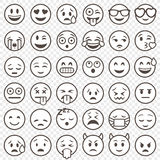 Vector Outlined Emoticon big set Royalty Free Stock Images
