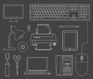 Vector outlined set of office devices Royalty Free Stock Images