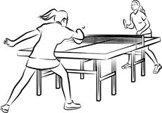Women`s table tennis - woman in action. Vector outlines of girls playing table tennis Royalty Free Stock Image