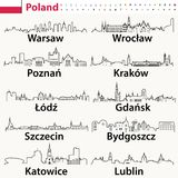 Vector outline icons of Poland cities skylines. Vector outlines icons of Poland cities skylines Stock Photo