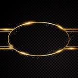Vector ovaal kader Glanzende cirkelbanner Geïsoleerd op Zwarte Stock Afbeeldingen