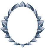 Vector. Oval frame of blue leaves on a white background Stock Photography