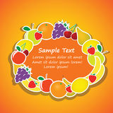 Vector oval frame from fruits Royalty Free Stock Photos