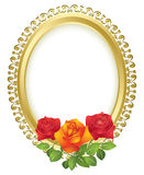 Vector oval golden frame with roses Royalty Free Stock Photography