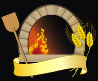 Vector oven. Vector illustration of firewood oven with shovel and grain Stock Photos
