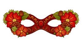 Vector Overladen Gekleurd Mardi Gras Carnival Mask met Decoratieve Bloemen Stock Foto's
