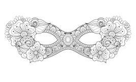 Vector Overladen Zwart-wit Mardi Gras Carnival Mask met Decoratieve Bloemen Stock Afbeelding