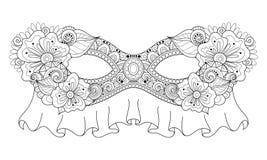 Vector Overladen Zwart-wit Mardi Gras Carnival Mask met Decoratieve Bloemen Stock Afbeeldingen