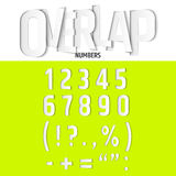 Vector Overlapping Numbers and Signs Set in Modern Paper Cut Style. Royalty Free Stock Photography
