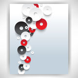 Vector overlapping white and red discs concept background Stock Photos