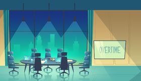 Vector overtime concept - conference hall at night Stock Image