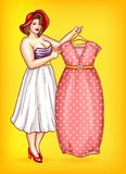 Vector overweight woman, tailor pointing at dress. Vector overweight woman, seamstress in striped blouse shows red dress on yellow dotted background. Pop art Royalty Free Stock Photography