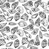 Vector overzees patroon De zomerachtergrond met shell elementen Het herhalen van druk achtergrondtextuur Stock Fotografie