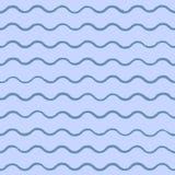 Vector overzeese achtergrond met blauwe die golven, met de hand met inkt worden getrokken Royalty-vrije Stock Afbeelding