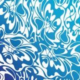 Vector overzeese van de kleuren naadloze werveling achtergrond Blauwe abstracte bloemen Royalty-vrije Illustratie